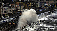 WEATHER PICTURE DEVON<br /> Pictured: The railway line wall in Dawlish, Devon takes another battering by the huge waves crashing against it on Saturday afternoon. 15 February 2014<br /> Re: Severe weather and floods have been affecting parts of the UK.
