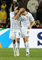 Clint Dempsey (8) of USA celebrates scoring the opening goal with team-mate Jonathan Spector (21) . USA leads Brazil 2-0 after the first half during the FIFA Confederations Cup Final at Ellis Park Stadium in Johannesburg, South Africa on June 28, 2009..