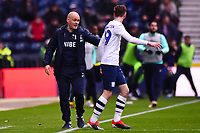 Preston North End manager Alex Neil  gives instructions to Preston North End's Tom Barkhuizen<br /> <br /> Photographer Richard Martin-Roberts/CameraSport<br /> <br /> The EFL Sky Bet Championship - Preston North End v Blackburn Rovers - Saturday 24th November 2018 - Deepdale Stadium - Preston<br /> <br /> World Copyright © 2018 CameraSport. All rights reserved. 43 Linden Ave. Countesthorpe. Leicester. England. LE8 5PG - Tel: +44 (0) 116 277 4147 - admin@camerasport.com - www.camerasport.com