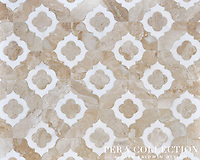 Irene, a stone waterjet mosaic shown in Diana Royal and Snow White, is part of the Pera Collection by Sara Baldwin for Marble Systems.