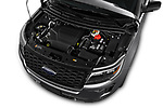 Car stock 2018 Ford Explorer Sport 5 Door SUV engine high angle detail view