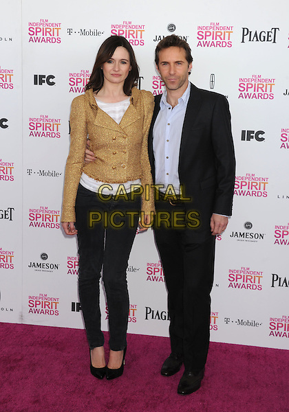Emily Mortimer & Alessandro Nivola.2013 Film Independent Spirit Awards - Arrivals Held At Santa Monica Beach, Santa Monica, California, USA,.23rd February 2013..indy indie indies indys full length gold jacket tweed suit grey gray shirt blue jeans denim suit married husband wife .CAP/ROT/TM.©Tony Michaels/Roth Stock/Capital Pictures