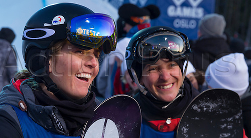 26.02.2016. Wyller Oslo Winter Park, Oslo, Norway. Red Bull X Games. Ladies Snowboard SuperPipe Final L-R Mirabelle Thovex of France, Sophie Rodriguez of France compete in the Ladies Snowboard SuperPipe Final  during the X Games Oslo 2016 at the Wyller Oslo winter park in Oslo, Norway.