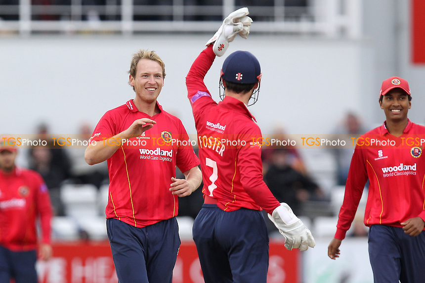 Tom Westley of Essex celebrates the wicket of Andrew Hall - Northamptonshire Steelbacks vs Essex Eagles - Royal London One-Day Cup at the County Ground, Northampton - 21/08/14 - MANDATORY CREDIT: Gavin Ellis/TGSPHOTO - Self billing applies where appropriate - contact@tgsphoto.co.uk - NO UNPAID USE