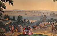 Original panoramic wallpaper painted by Jean Zuber et Cie in Rixheim, Alsace, France, in 1834, entitled The Wars of Independence, in the Independence Room (used as a private dining room) of the Palace Arms restaurant, in the Brown Palace Hotel, Denver, Colorado, USA. This is 1 of only 2 existing original painted wallpapers in America (the other in the Diplomatic Reception Room of the White House in Washington DC). The restaurant retains its historical ambience with leather seating and antique memorabilia and is one of the best fine-dining establishments in the city. The hotel itself was designed by Frank Edbrooke and built in 1892, and is listed on the US National Register of Historic Places and the Colorado State Register of Historic Properties. Picture by Manuel Cohen