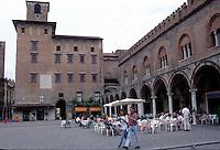 Mantova, Piazza delle Erbe, da sinistra Palazzo del Podest&agrave; o Broletto, palazzo della Ragione.<br /> Mantua, Piazza delle Erbe with medieval buildings and the clock tower on the right.