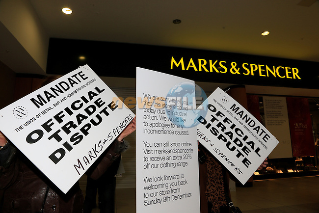 Staff members on strike outside the M&amp;S store in the Laurence Town Centre<br /> Picture: Fran Caffrey www.newsfile.ie