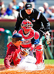 4 March 2010: Washington Nationals' catcher Wil Nieves is unable to get  Houston Astros catcher J.R. Towles out at the plate as Towles is called safe during the Nationals-Astros Grapefruit League Opening game at Osceola County Stadium in Kissimmee, Florida. The Astros defeated the Nationals split-squad 15-5 in Spring Training action. Mandatory Credit: Ed Wolfstein Photo