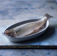 Europe/France/Rhône-Alpes/74/Haute-Savoie: Omble chevalier ou Salvelinus alpinus, poisson de luxe présent sur les grandes tables - Stylisme : Valérie LHOMME