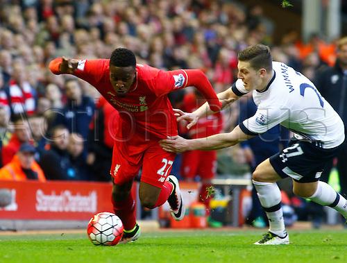 02.04.2016. Anfield, Liverpool, England. Barclays Premier League. Liverpool versus Tottenham Hotspur. Liverpool striker Divock Origi goes past Spurs defender Kevin Wimmer