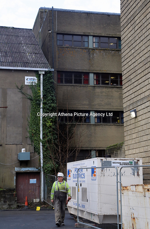 """Pictured: Work being carried out at the damaged rear of Ty Elwyn in Llanelli, Wales, UK. Wednesday 15 November 2017<br />Re: Two teenage females have been charged in connection with a fire at a council building in Llaneli, west Wales.<br />Police said the fire at the rear of Ty Elwyn in on Tuesday is """"believed to have been started deliberately"""".<br />The females, aged 18, and 16, have been charged with intent to endanger life and appeared before Llanelli Magistrates' Court."""