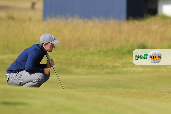 Paul DUNNE (AM)(IRL) lines up his birdie putt at the 15th green during Sunday's Round 3 of the 144th Open Championship, St Andrews Old Course, St Andrews, Fife, Scotland. 19/07/2015.<br /> Picture Eoin Clarke, www.golffile.ie