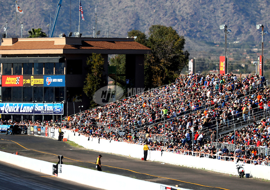 Feb 25, 2017; Chandler, AZ, USA; General view of NHRA fans in the grandstands during qualifying for the Arizona Nationals at Wild Horse Pass Motorsports Park. Mandatory Credit: Mark J. Rebilas-USA TODAY Sports