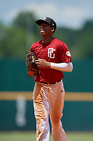 Braylon Bishop (2) of Arkansas High School in Texarkana, AR during the Perfect Game National Showcase at Hoover Metropolitan Stadium on June 18, 2020 in Hoover, Alabama. (Mike Janes/Four Seam Images)