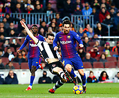 7th January 2018, Camp Nou, Barcelona, Spain; La Liga football, Barcelona versus Levante; Leo Messi steps away from his marker