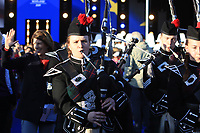 Bagpipes escort the players out during the Opening Ceremony of the Solheim Cup 2019 at Gleneagles Golf CLub, Auchterarder, Perthshire, Scotland. 12/09/2019.<br /> Picture Thos Caffrey / Golffile.ie<br /> <br /> All photo usage must carry mandatory copyright credit (© Golffile | Thos Caffrey)