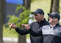 footballer turned actor Vinnie Jones & former England cricketer Darren Gough during the GOLFSIXES ProAm  at Centurion Club, St Albans, England on 5 May 2017. Photo by Andy Rowland.