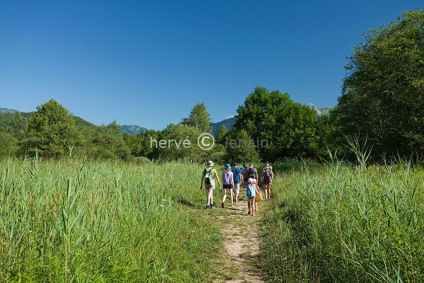 France, Haute-Savoie (74), Doussard, lac d'Anneçy, sentier qui mène dans la réserve naturelle du Bout-du-Lac // France, Haute-Savoie,  Doussard, path in the Natural Reserve du Bout du Lac