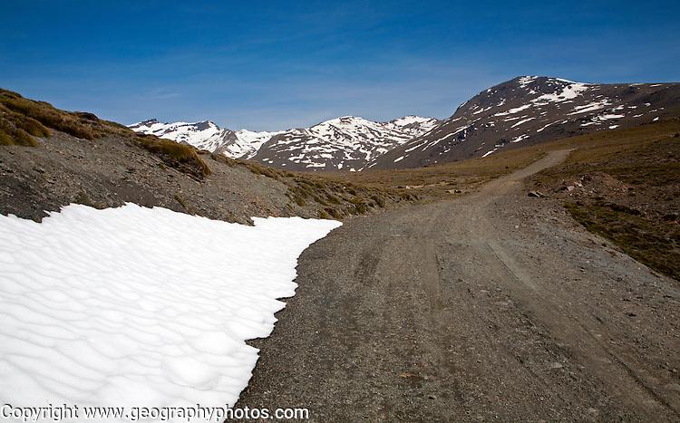 Snow capped Sierra Nevada Mountains, Alpujarras, near Capileira, Granada Province, Spain