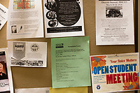 Event posters, including one regarding English pronunciation practice, hang on a bulletin board  at Middlesex Community College's Asian American Connections Center on Thurs., Feb. 15, 2018. The Asian American Connections Center was established at the school using a federal grant in 2016 and serves as a focal point for the Asian community at the school, predominantly Cambodian, to gather, socialize, study, and otherwise take part in student life.