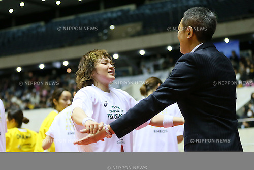 (L to R) <br /> Asami Yoshida, <br />  Kiyomi Sato (Sunflowers), <br /> JANUARY 12, 2014 - Basketball : <br /> All Japan Basketball Championship 2014 <br /> Empress's Cup Final <br /> between JX-ENEOS Sunflowers 69-61 TOYOTA Antelopes <br /> at 1st Yoyogi Gymnasium, Tokyo, Japan. <br /> (Photo by YUTAKA/AFLO SPORT) [1040]