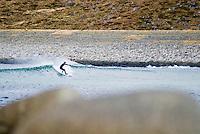 Arctic surfing, Eggum, Lofoten, Norway