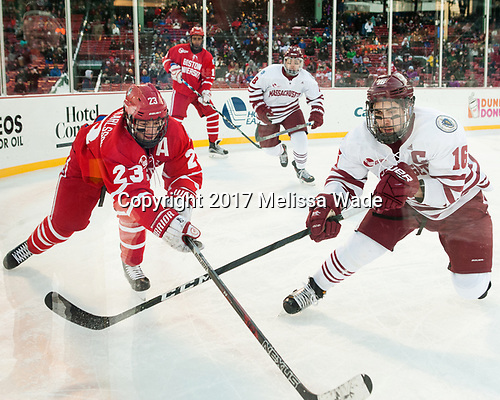 Jakob Forsbacka Karlsson (BU - 23), Steven Iacobellis (UMass - 16) - The Boston University Terriers defeated the University of Massachusetts Minutemen 5-3 on Sunday, January 8, 2017, at Fenway Park in Boston, Massachusetts.The Boston University Terriers defeated the University of Massachusetts Minutemen 5-3 on Sunday, January 8, 2017, at Fenway Park.
