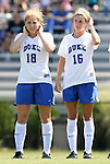 05 September 2009: Duke's Maddy Haller (18) and Elisabeth Redmond (16). The Duke University Blue Devils played the University of Nevada Los Vegas Runnin' Rebels to a 0-0 tie after overtime at Koskinen Stadium in Durham, North Carolina in an NCAA Division I Women's college soccer game.