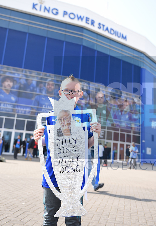 A Leicester city fan celebrate before the Barclays Premier League match at the King Power Stadium Leicester. Photo credit should read: Nathan Stirk/Sportimage<br /> <br /> <br /> <br /> <br /> <br /> <br /> <br /> <br /> <br /> <br /> <br /> <br /> <br /> <br /> <br /> <br /> <br /> <br /> <br /> <br /> <br /> <br /> <br /> <br /> <br /> <br /> <br /> <br /> <br /> <br /> <br /> - Newcastle Utd vs Tottenham - St James' Park Stadium - Newcastle Upon Tyne - England - 19th April 2015 - Picture Phil Oldham/Sportimage