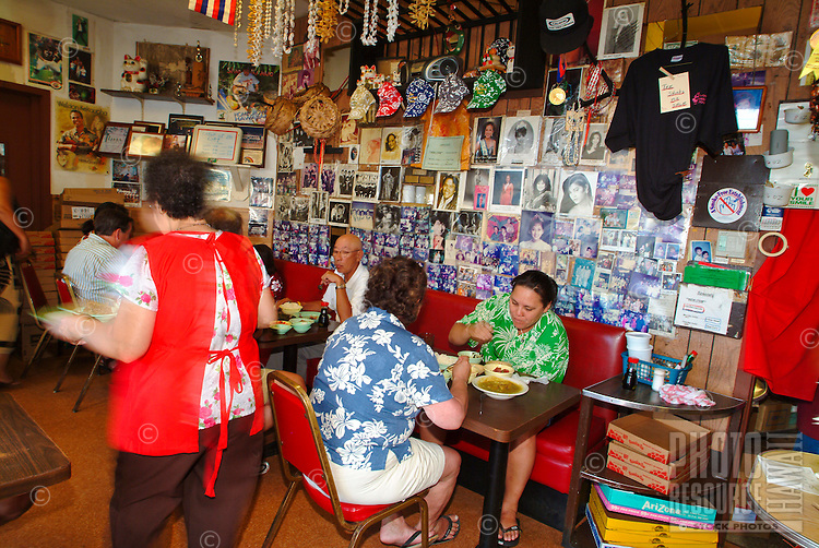 Small local style food at resturant at  'Ono Hawaiian Foods' in Kapalulu near Waikiki, island of Oahu
