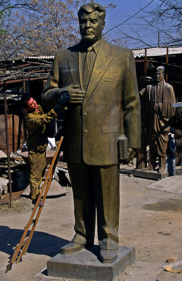 Ashgabat, Turkmenistan, April 1998..A sculpture workshop which makes thousands of likenesses of the President. Poverty-stricken, but rich in oil and gas resources, this Central Asian former Soviet republic is ruled by the autocratic President Saparmurat Niyazov, or Turkmenbashi as he has renamed himself................