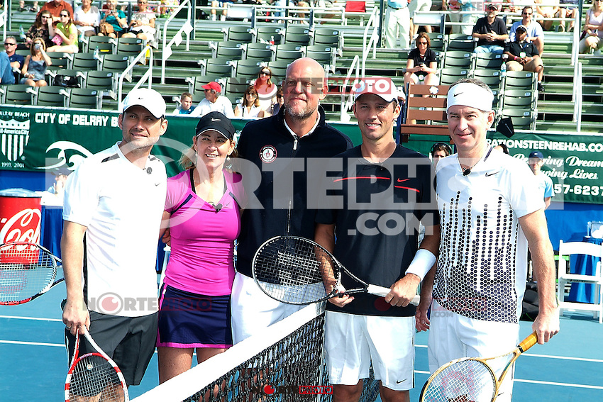 DELRAY BEACH, FL - NOVEMBER 13: Christian Slater, Chris Evert, Murphy Jensen, Jeffrey Donovan and John McEnroe attends the Chris Evert/Raymond James Pro-Celebrity Tennis Classic at Delray Beach Tennis Center on November 13, 2011 in Delray Beach, Florida. (photo by: MPI10/MediaPunch Inc.)