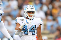 WINSTON-SALEM, NC - SEPTEMBER 13: Jeremiah Gemmel #44 of the University of North Carolina during a game between University of North Carolina and Wake Forest University at BB