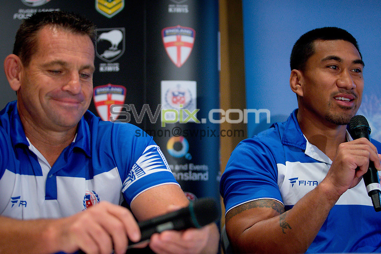 Picture by Patrick Hamilton/ www.photosport.co.nz/SWpix.com - Samoa coach Matt Parish (L) and Samoa captain David Fa'alogo (R) during a preview 4 Nations press conference, Brisbane Australia on October 24, 2014.