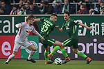 15.04.2018, Weser Stadion, Bremen, GER, 1.FBL, Werder Bremen vs RB Leibzig, im Bild<br /> <br /> <br /> Emil Forsberg (RB Leipzig #10)<br /> Maximilian Eggestein (Werder Bremen #35)<br /> Thomas Delaney (Werder Bremen #6)<br /> Foto &copy; nordphoto / Kokenge