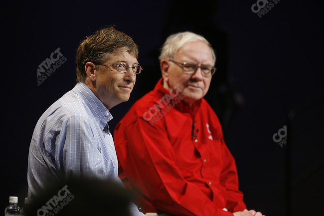Microsoft founder and Chairman Bill Gates joined his friend, Berkshire Hathaway Chairman Warren Buffett for a Q&A session with Business students from the College of Business Administration at the University of Nebraska in Lincoln NE. Both Gates and Buffett. They were introduced by the Dean of the Business Admin School Cynthia Milligan.. Students asked questions from the microphones on each side of the stage. Beforehand, both Buffett and Gates peered thru the stage door at the assembling off students, had makeup done backstage, and watched a video introduction, taken from previous sessions where they had spoken together. Later, the posed for cameras. Gates walked to the Edwards Computer Science /Business center where he spoke to students.