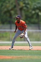 GCL Astros third baseman Rolando Espinosa (10) during a Gulf Coast League game against the GCL Marlins on August 8, 2019 at the Roger Dean Chevrolet Stadium Complex in Jupiter, Florida.  GCL Marlins defeated GCL Astros 5-4.  (Mike Janes/Four Seam Images)