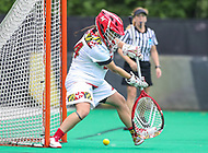 College Park, MD - May 19, 2018: Maryland Terrapins Megan Taylor (34) tries to make a save during the quarterfinal game between Navy and Maryland at  Field Hockey and Lacrosse Complex in College Park, MD.  (Photo by Elliott Brown/Media Images International)