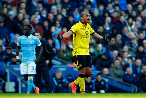 05.03.2016. The Etihad, Manchester, England. Barclays Premier League. Manchester City versus Aston Villa. Gabriel Agbonlahor of Aston Villa question the decision of the referee