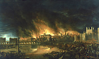 "London:   ""Fire of London"", 1666 by Dutch School.  Early Stuart--Museum of London.  Reference only."