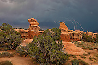 792800274 lightning flashes behind the four trolls red rock formations during a summer thunderstorm in devils garden escalante grand staircase national monument utah united states