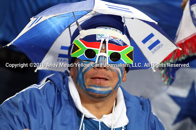 21 JUN 2010:  Honduras fan in the stands.  The Spain National Team played the Honduras National Team at Ellis Park Stadium in Johannesburg, South Africa in a 2010 FIFA World Cup Group C match.