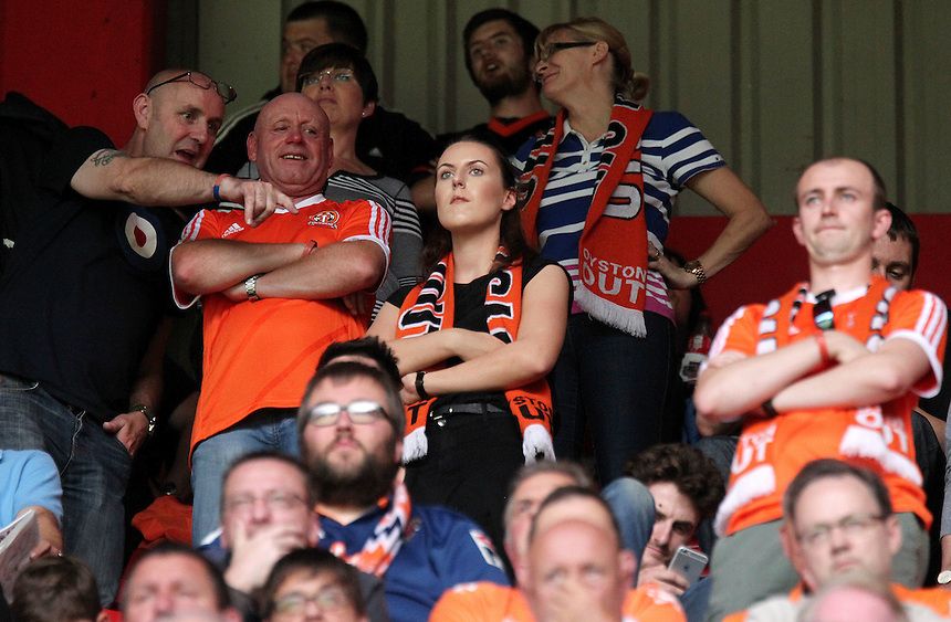 Blackpool fans watch the second half action<br /> <br /> Photographer Rich Linley/CameraSport<br /> <br /> Football - The Football League Sky Bet League One - Sheffield United v Blackpool - Saturday 22nd August 2015 - Bramall Lane - Sheffield<br /> <br /> &copy; CameraSport - 43 Linden Ave. Countesthorpe. Leicester. England. LE8 5PG - Tel: +44 (0) 116 277 4147 - admin@camerasport.com - www.camerasport.com