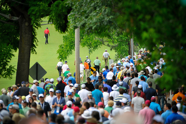 16 June 2013: Fans line Ardmore avenue to catch a glimpse of  Tiger Woods during the Final Round of the 113th U.S. Open at Merion Golf Club in Ardmore, Pennsylvania.