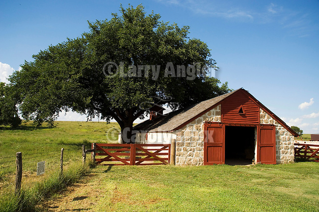 Stone Barn With Red Doors At The Cottonwood Ranch State Historic Monument Yorkshire Style
