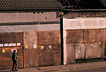 Recession 1990s closed down boarded up high street shops. Mountain Ash Wales. UK 1998