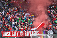 Portland, OR - Saturday, May 21, 2016: Portland Thorns FC supporters set off a smoke bomb. The Portland Thorns FC defeated the Washington Spirit 4-1 during a regular season National Women's Soccer League (NWSL) match at Providence Park.