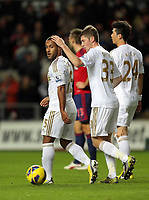 Sunday, 28 November 2012<br /> Pictured L-R: Wayne Routledge of Swansea celebrating his second goal with Ben Davies<br /> Re: Barclays Premier League, Swansea City FC v West Bromwich Albion at the Liberty Stadium, south Wales.