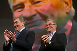 5 time winners Eddy Merckx (BEL) and Bernard Hinault (FRA)  on stage at the Tour de France 2019 route presentation held at Palais de Congress, Paris, France. 25th October 2018.<br />
