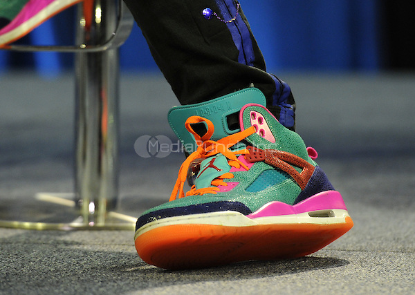 SAN FRANCISCO, CA - FEBRUARY 4: Chris Martin of Coldplay's shoes at the press conference for the Super Bowl 50 Halftime at the Moscone Center on February 4, 2016 in San Francisco, California. Credit: PGFM/MediaPunch